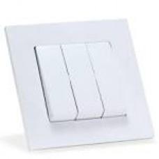Вимикач  2-клав.білий  з підсвіткою Eqona