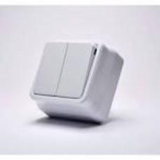 Вимикач 2-ий зовнішній, білий з/з ІЗ44 Алсу  EL-BI